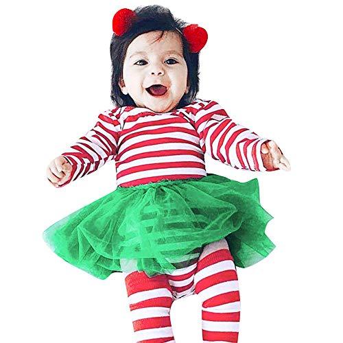 HOMEBABY Peuter Baby Meisje Jongen Kerstmis Gestreepte Print Romper Jurk Jumpsuit Outfit Baby Cartoon Lange mouwen Sweatshirt