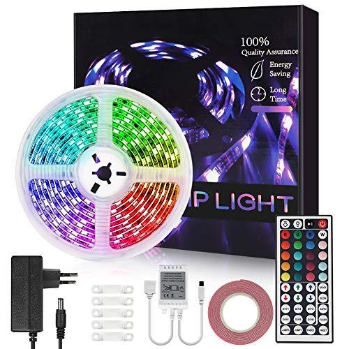 Opard LED Strip 5m Streifen RGB 44 Tasten IR Fernbedienung 5050 LED Streifesn für Schlafzimmer, Küche, Party, Festival Dekoration