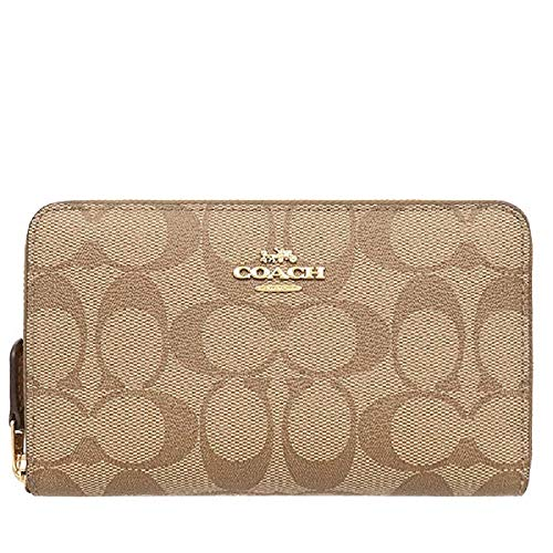Coach Medium Zip Around Wallet in Signature Canvas (Khaki/Saddle)