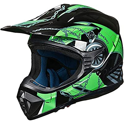ILM Youth Kids ATV Motocross Dirt Bike Motorcycle BMX MX Downhill Off-Road MTB Mountain Bike Helmet DOT Approved (Green Black, Youth-XL)