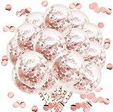 50 piezas Globos de confeti para fiesta Globos de confeti de látex para cumpleaños bodas compromisos aniversario baby shower graduación carnaval de Navidad o cualquier decoración de fiesta (Oro Rosa)