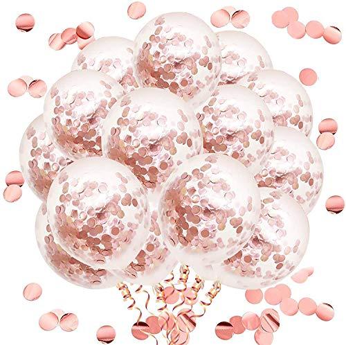 50 Stück Rosé Gold Konfetti Luftballons, Rosé Gold Konfetti Ballons Latex Ballons Helium Ballons für Babyparty Hochzeit Mädchen Kinder Geburtstag Party Graduierung Dekoration