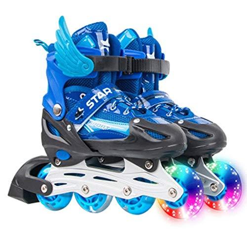 LBBL Inline Skates, Geräuscharm ABEC-7 Lager 2 Farben Zur Auswahl PP-Material Sperre LED Rollschuhe(blau, Gold)Für Jungen Mdchen Anfnger (Color : A, Size : S)