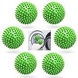 6 Stücke Trockner Ball,Trocknerkugeln Duft,Trocknerbälle für Wäschetrockner,Kugeln für Flauschigere Wäsche,Wiederverwendbare Dryer Balls,Wäsche Wäschetrockner Trocknen Ball (Grün, 6)