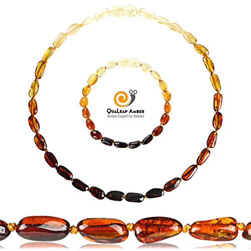 Amber Teethịng Necklace + Baltịc Ạmber Anklet Gift Set (13 inches/5.5 inches – Rainbow) – 100% Real Baltic Ạmber
