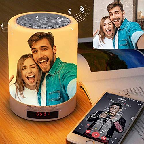 Personalisierte Nachtlicht mit Foto, Personalisierte Bluetooth-Lautsprecher mit Bild, Musik-Player mit Lampe USB Play, 7 Farben, Touch Control Wecker für den Gedenktag