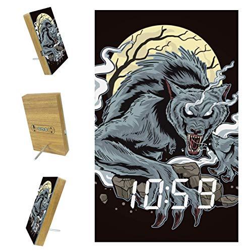 Vockgeng Wecker Digitale Tischuhr LED Wilder Wolf Datum Temperatur Holzoptik Dekoration Alarm Wecker Kinder...