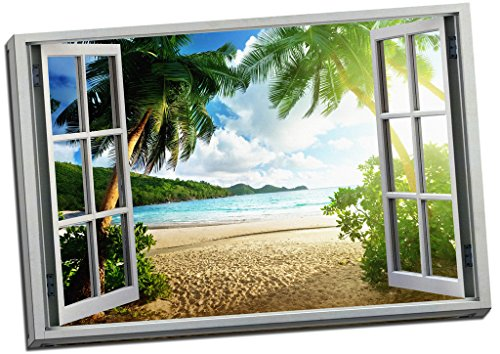 Beach Sunset View 3D Window Effect Canvas Print Picture Wall Art Large 30x20 Inches by Panther Print