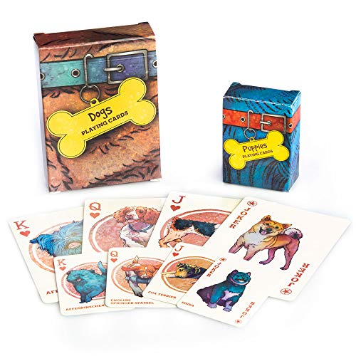 Dogs & Puppies Playing Cards - 100+ Dog & Puppy Illustrations, Two Decks of Assorted Breeds - Pictures of Pets for Animal Lovers - Family Games, Hobbies, & Collections - Cute Pet Themed Collectibles