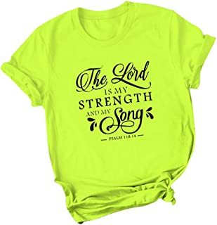 LONGDAY Ladies Round Neck TunicWomens T Shirt Short Sleeve Printed Graphic Tees Casual Summer O Neck Top Shirts