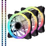 EZDIY-FAB 120mm RGB PWM PCケースファン LEDストリップ付き,マザーボード同期(ASUS AURA,MSI MYSTIC SYNC), RGB LED機能調節 コントローラ付き