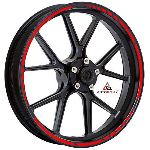 Autodomy Pegatinas Llantas Moto Juego Completo para 2 Llantas de 15' a 19' Pulgadas Diseño Sport (Rojo)
