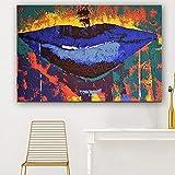 KWzEQ Imprimir en Lienzo Boca Azul Pared Arte Imagen Sala de Estar decoración del hogar70x105cmPintura sin Marco