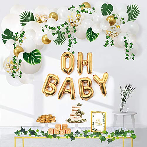 Ola Memoirs Greenery Baby Shower Decorations, Boho Neutral Oh Baby Balloon Garland Arch, Faux Greenery Ivy Leaf Vines, Backdrop Decor for boy and girl, Sweet Decoration Jungle Safari Woodland Theme