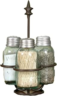 Colonial Tin Works Fleur de Lis Mason Jar Salt, Pepper and Toothpick Caddy,Brown
