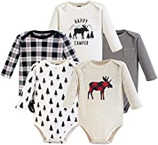 Hudson Baby Unisex Baby Cotton Long-sleeve Bodysuits, Moose, 0-3 Months