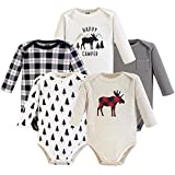 Hudson Baby Unisex Baby Cotton Long-sleeve Bodysuits, Moose, 3-6 Months