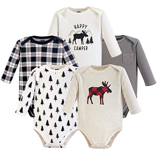 Hudson Baby Unisex Baby Cotton Long-sleeve Bodysuits, Moose, 18-24 Months