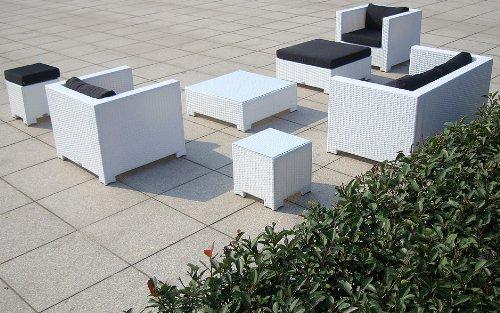 Baidani Gartenmöbel-Sets 10c00034 Designer Lounge Sunrise, 2-er Sofa, 2 Sessel, 2 Hocker, 1 Couchtisch, Beistelltisch mit Glasplatte, weiß - 2