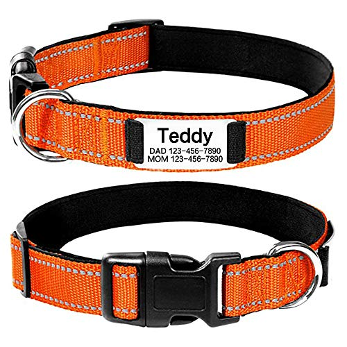 Personalized Dog Collar, Reflective Custom Dog Collar with Name Phone Number, Adjustable ID Collars for Dogs