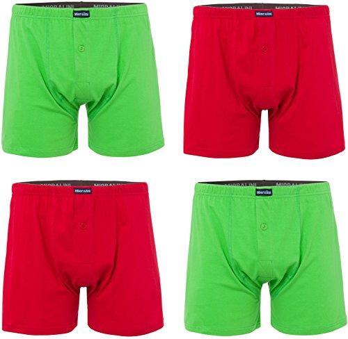 MioRalini 4 Boxershort Herren mit weitem Bein, Artikel: mit Eingriff 03, Grün-rot, 8XL-14