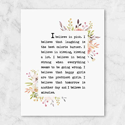 I Believe in Pink, Book Page Art Print, Nice Quotes, for Her, Girl Room Wall Decor, Girl Quotes, Bedroom Wall Decor, UNFRAMED, 8x10 inch