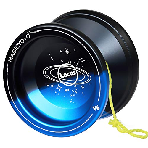MAGICYOYO Responsive V6 Locus Aluminum Alloy YoYo for Kids Beginner Learner Yoyo Bag, Yoyo Glove 5 Spinning Strings (Black Blue)