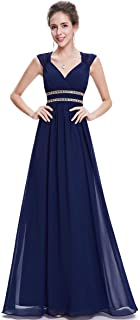 Ever-Pretty Women's Sleeveless V Neck Empire Waist A Line Chiffon Evening Party Prom Dresses 08697