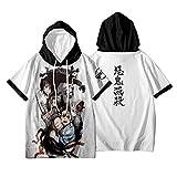 鬼滅の刃 アニメT-シャツ,キメツノヤイバ アニメファンのためのコットンパーカーショートスリーブティー H 2l