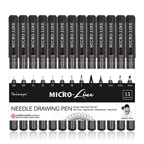Dainayw 13 Pcs Micro-Line Pens, Art Hand Lettering Pens, Multiliner, Waterproof Archival Ink, Artist Illustration, Technical Drawing, Anime, Calligraphy, Office Documents&Scrapbooking, Black
