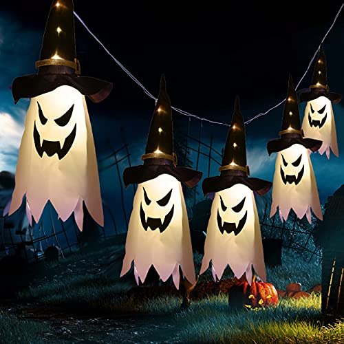 LUHUANONG Decoración de Halloween Luz Intermitente LED, 5 Piezas Decoraciones Colgantes de Fantasmas de Halloween con Formas de Sombrero de Bruja Decoraciones de Halloween, al Aire Libre, Interior