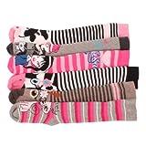 6 x Girls Kids Children Wellington Welly Animal Print Thermal Warm Long Socks Sock Size:UK 12-3