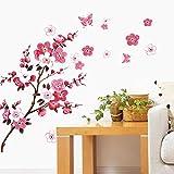 WandSticker4U- Wandtattoo KIRSCHBLÜTE Rot I Wandbilder: 120x50cm I Wand-aufkleber Blumen Zweig Schmetterlinge Pfirsich Blüte Sakura I Deko für Wohnzimmer Schlafzimmer Küche Fenster Möbel