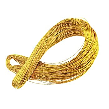 Gold String for Braids,Metallic Cord Jewelry Thread Craft String Lift Cord,Gold and Silver Thread for Wrapping,Hair Braiding,Hang Tags,Home Decor and Craft Making  Gold,100 Meters/ 109 Yards