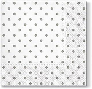 20 servetten mini-stippen grijs op wit/gestippeld/stippen/patroon 33x33cm