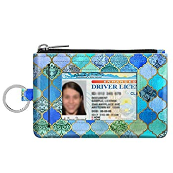 Zip ID Case Card Holder Fintie Slim Coin Purse Wallet RFID Blocking Change Pouch with Key Chain  Cool Jade