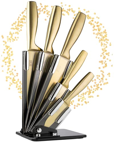 Gold Kitchen Knife Block Set - Taylors Eye Witness 5pc Stainless Steel Knives & Holder, Paring, All Purpose, Carving, Bread & Chefs. Modern Satin Golden Coloured. Sharp Blades. 5 Year Guarantee