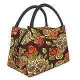 Bolsas de aislamiento térmico para bolsa de almuerzo de tamaño grande con diseño de calaveras de azúcar