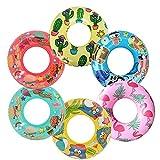 6 Pack Inflatable Pool Tubes for Kids, Toddler Dinosaur Inner Tubes for Floating, Flamingo Swim Tube, Cactus Pool Ring Float, Penguin Pool Floaties, Beach Swimming Ring and Toys for Infant 3-6