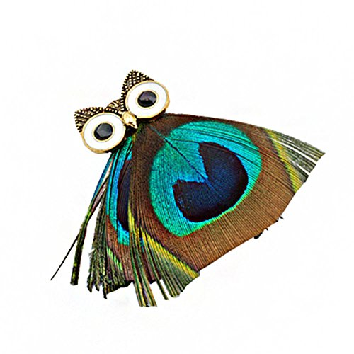 DaoRier - Broches de plumas con búho