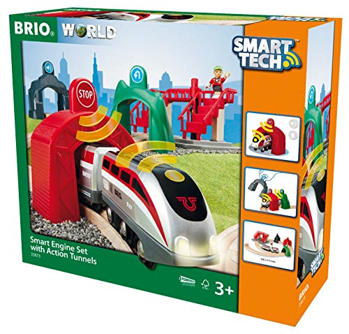 BRIO World - 33873 Smart Tech Engine Set with Action Tunnels | 17 Piece Train...