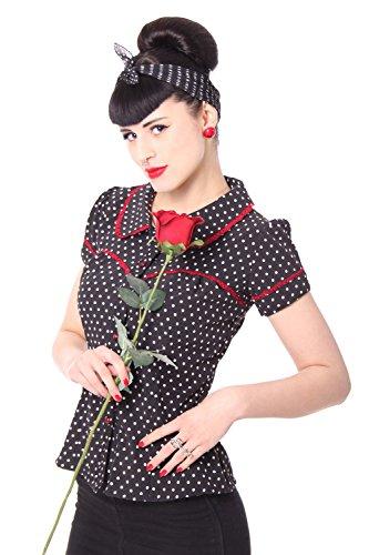 SugarShock Coleen 50er Retro Vintage Polka Dots Rockabilly Pin Up Puffärmel Bluse m. Rückenausschnitt, Größe:S, Farbe:Schwarz