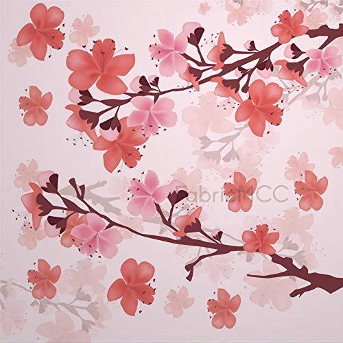 Juego de adhesivos decorativos para azulejos, diseño de rama Sakura con flores de cerezo, 40,6 x 40,6 cm, vinilo resistente al agua, 12 unidades