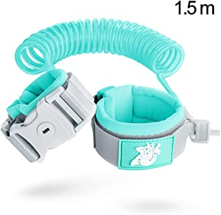 Anti Lost Safety Wrist Link Belt, 1.5M Harness Flexible Adjustable Child Walking Strap, with 360 °Rotation and Retractability Wrist Harness Set, Suitable for 1-12 Year Old Child,Blue