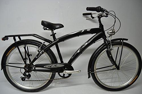 Bicicletta Cruiser Custom Chopper Uomo 26 Alluminio 6v Nera Grigio Silver Bianco