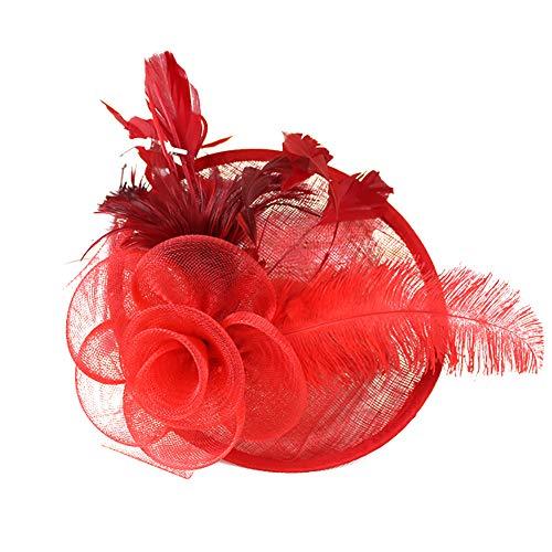 Bodhi2000 Frauen Feder Blume Fascinator Hut Haarspange Brosche Cocktail Hochzeit Tea Party rot