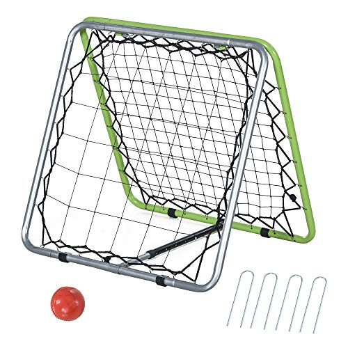 HOMCOM Baseball Rebounder Kickback Tor Rückprallwand Netz beidseitiger Rückprall Faltbar Metall+PE Grün 75 x 75 x 64 cm
