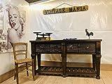 banco da cucina rustico console tavolo in stile country in legno massiccio 170x50h93 artigianale handmade in italy