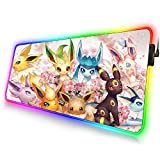 Totem World Trading Card Games Mouse Pad Compatible with Gaming Pokemon Yugioh Magic The Gathering MTG TCG Card Game Table Playmat (Eevee LED 14 x 24 inches)
