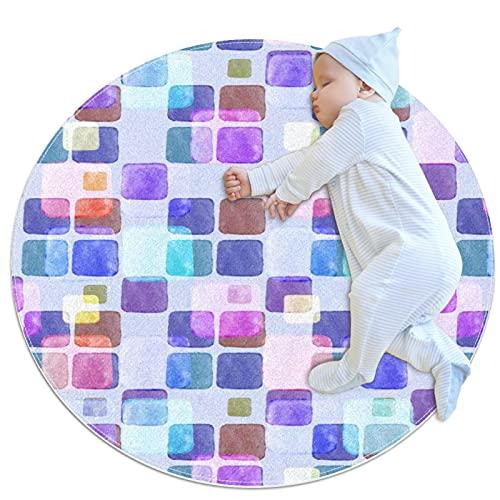 Acuarela púrpura fondo abstracto antideslizante área de respaldo alfombras para dormitorio alfombras redondas absorbentes mujeres Yoga alfombra de entrada Alfombras niños dormitorio juego piso Mat